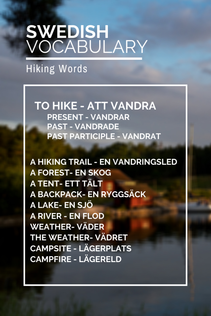 Vocabulary list of hiking words in Swedish