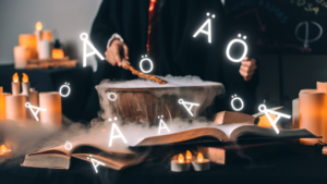 Magic Swedish Letters coming out of a wizard cauldron, surrounded by books
